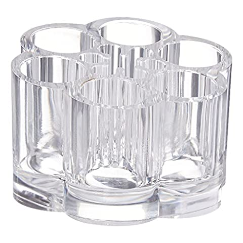 iLory Flower Shape Clear Acrylic Cosmetic and Makeup Brush Holder