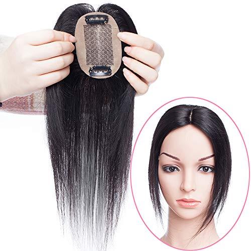 Remy Haarteile (Haarteil Toppr Remy Echthaar Clip in Extensions Haarverlängerung Pony Toupee Frauen Toupet Naturschwarz #1B 6