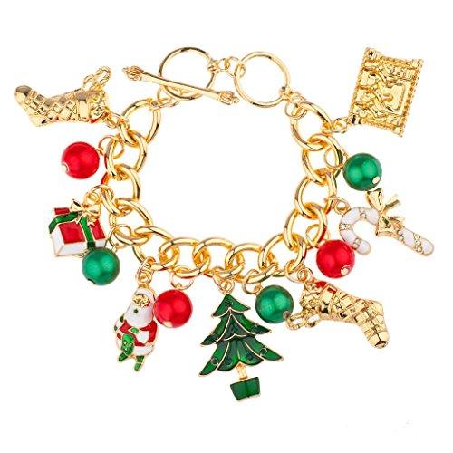 LUX Zubehör Weihnachten Weihnachtsstrumpf Santa Claus Geschenk Baum Candy Cane Jingle Ball Charm Armband
