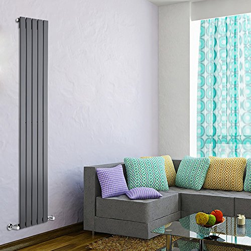 Milano Hudson Reed - Radiateur Chauffage Central Design Vertical - Acier Gris Anthracite - 178 x 35cm