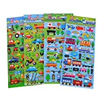 STOBOK 10 Sheets 3D Puffy Stickers Cartoon Vehicles Cars Scrapbooking Crafting Assorted Stickers for Kids