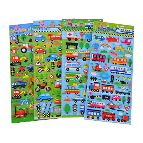 STOBOK 10 Blätter 3D Puffy Aufkleber Cartoon Fahrzeuge Autos Scrapbooking Crafting Verschiedene Aufkleber für Kinder