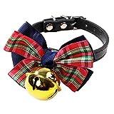 KDSANSO Hundehalsband mit Strass Pet Supplies Hundebindung Fliege Glocke Kleine und Mittlere Hunde dunkelblau + goldene Glocke 32 * 1cm