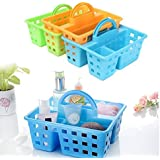 Kriva Divided 3-Compartment Plastic Tote Caddies Baskets With Handle Bathroom Kitchen Home Office Storage Basket - 1pc(Multi Color)