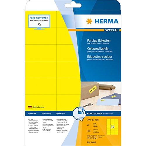 Herma 4466 Farbetiketten ablösbar (70 x 37 mm auf DIN A4 Papier matt) 480 Stück auf 20 Blatt, gelb, bedruckbar, selbstklebend