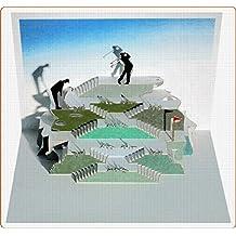 Pop Up 3D Karte Herren Golf Grusskarte Geburtstag Gutschein Golfurlaub 16x11cm