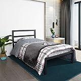 Aingoo Lit en métal Lit Simple avec Support à Lattes en Bois et sommier pour Matelas de tête de lit, 90x190 cm