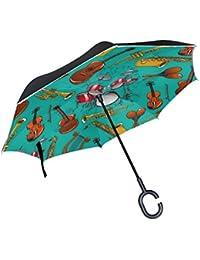 BENNIGIRY Paraguas de Doble Capa con Diseño de Guitarras Acústicas Clásicas, con asa de Manos