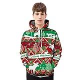 YiLianDa Herren Hoodie Pullover Weihnachten Kapuzenpullover Kostuem Sweatshirt