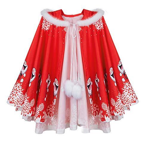 Hirolan Kapuzenumhang Mom & Me Adult Damen Umhang Familie Passende Weihnachten Kapuzen Cape Santa Coat Kinder Erwachsener Eltern-Kind Kleidung Cloak (Rot -Kinder, S)