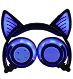 LIMSON Drahtlose Bluetooth-Kopfhörer über Ohr, Faltbare Nachladbare Katze-Ohr-Headsets mit Mic LED-Licht-Glühenden Kind-Headphones Compatible für Mobiltelefone, iPad, iPhone, Laptop, Computer (Blau)