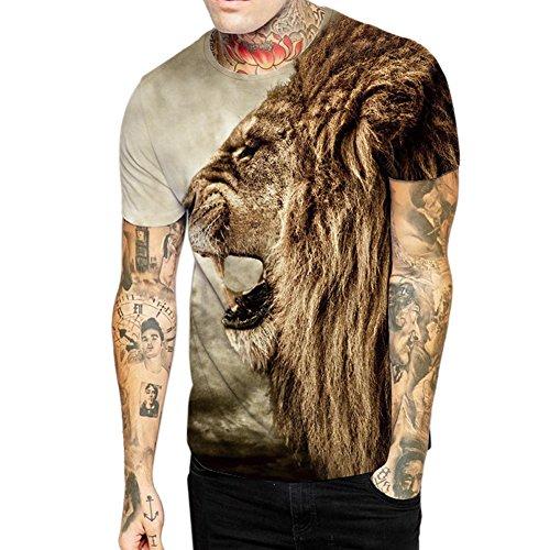 West See Herr Mann Designs Lion Löwen T-Shirt 3D-Druck beiläufige Hemd Bluse Kurzarm (EU M, wie die Bilder) (Print T-shirt Lion)