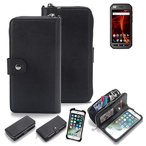 K-S-Trade 2in1 Handyhülle für Caterpillar Cat S41 Dual-SIM Schutzhülle & Portemonnee Schutzhülle Tasche Handytasche Case Etui Geldbörse Wallet Bookstyle Hülle schwarz (1x)