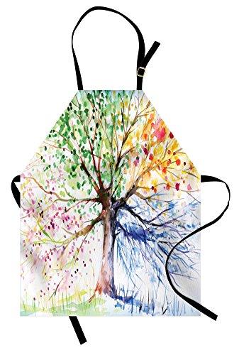 Ambesonne Baum-Schürze, Aquarellstil, künstlerischer Baum mit bunten Blütenzweigen, 4 Jahreszeiten, Unisex, Küchen-Lätzchen Schürze mit verstellbarem Hals zum Kochen, Backen, Gartenarbeit, Mehrfarbig