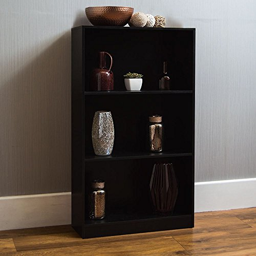 Home Discount Cambridge 3 Tier Medium Bookcase, Black Wooden Shelving Display Storage Unit Office Living Room Furniture