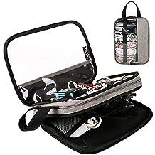 Eono Essentials Portaoggetti per elettronica, accessorio da viaggio per valigie, per cavi USB, hard disk, batterie, fotocamere digitali, console Nintendo Switch / E-book (fino a 7,9''),colore grigio