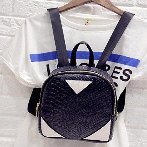 Rucksäcke, Tatis Frauen einfache Hit Farbe Serpentine Doppel-Rucksack Mini-Rucksack (Grau) Schwarz