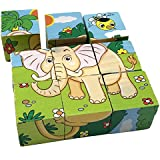 Rolimate Educational Preschool Wooden Cube Block Jigsaw Puzzles - Lion Zebra Elephant Rhinoceros Tiger Rabbit, Christmas gift toy for age 3 4 5 Years Old and Up Toddlers Kids Baby Children Boys Girls