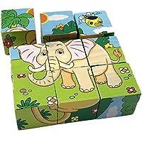 Rolimate Zoo Animals cubo in legno Block Jigsaw Puzzles - Leone zebra Elefante Rinoceronte Tiger Coniglio