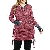 SHOBDW Große Größe Mode Frauen Casual Simplicity Einfarbig Pullover Dünn Sweatshirt Frauen mit Känguru Tasche Extra Langes T-Shirt Tops Bluse