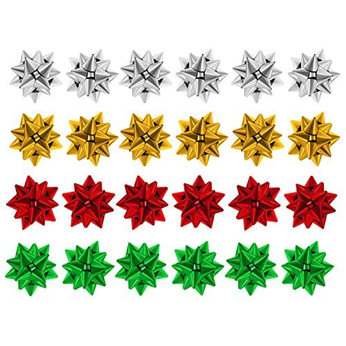 Pack of 24 Assorted Colour Metallic Christmas Present Gift Bows - 4cm