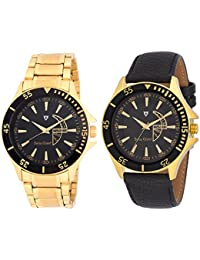 Swiss Grand Gold & Black Stainless Steel Strap Analogue Watch For Men Pack Of-2 (SG-1198)