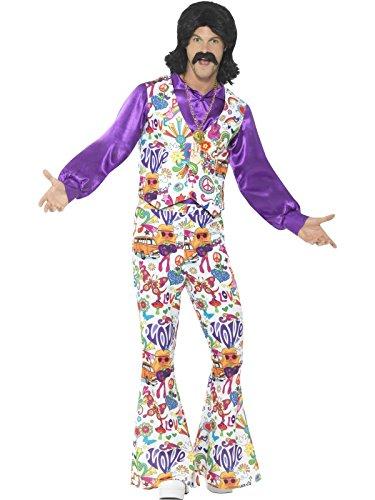 Smiffys, Herren 60er Jahre Groovy Hippie Kostüm, Weste, Hemd und Schlaghose, Größe: XL, 44904 (Böse Hexe Des Westens Kostüm Für Erwachsene)