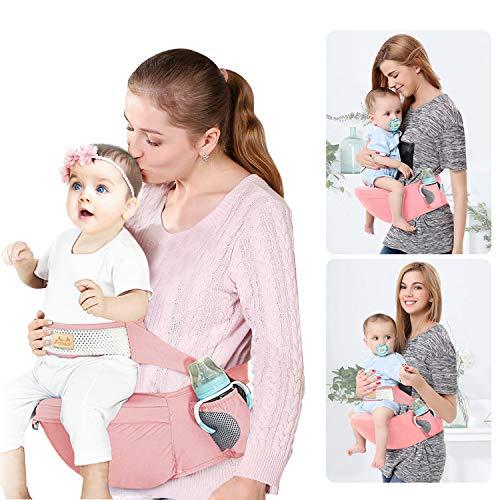 Viedouce Portabebé Ergonómico Asiento de Cadera,con Protección del Cinturón la Seguridad,Algodón Puro Ligero,Taburete de Cintura de Posición Múltiple por Bebé Niños 3-48 Meses(Rosado)