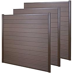 Mendler WPC Pare-Vue Sarthe, Abat-Vent, clôture, Aluminium Premium ~ Lot de 3, 5,6m, Marron