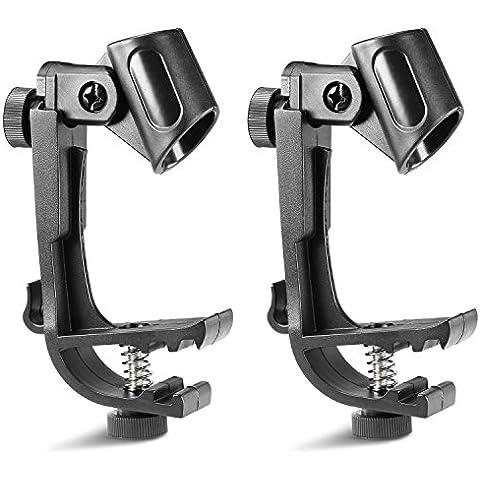 Neewer® 2 Paquete Clip Monte para Micrófono en el Tambor, Abrazaderas con Altura Ajustable y Giratorio, Fácil de