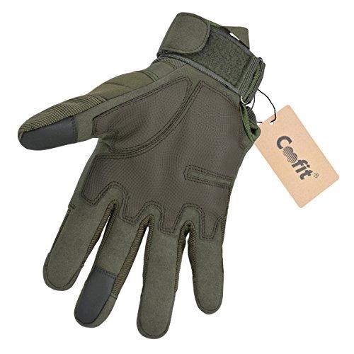 Coofit Sport Handschuhe Winter Motorrad Handschuhe Herren Vollfinger Gloves Biking Skifahre Handschuhe (Grün, L) - 5