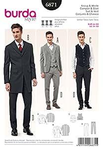 Burda B6871 Patron de Couture Costume et Gilet Homme 19 x 13 cm