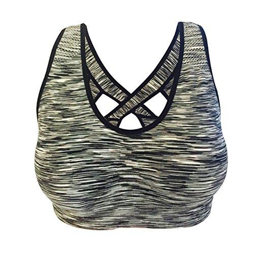Cliont Femmes Fort impact Soutien-gorge sportif Aptitude Exercice Yoga Running Bra Gris