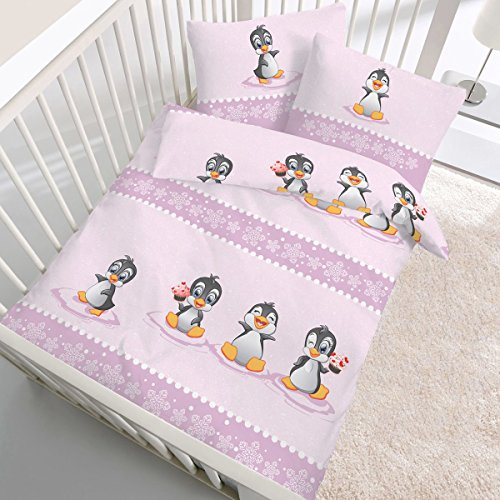 Produktbild bei Amazon - Biber-Bettwäsche Baby Pinguin 40x60 / 100x135 cm