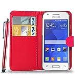 Samsung Galaxy Ace 4 - Ledergeldbörse Flip Hülle Tasche + Stylus Pen + Schutzfolie und Poliertuch ( Red )