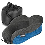 Fosmon Travel Neck Pillow, Soft and Comfortable Memory Foam Neck Cushion, Head