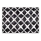 Livorio Designer Patchwork Kuhfell-Teppich - B120 x L180cm - weiß schwarz Karo Blume