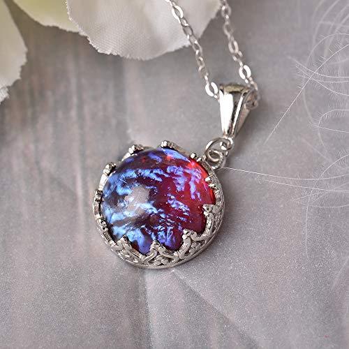 FUKAI Fine Dragon'S Breath Pendant Necklace Fire Opal Round Cabochon Vintage Elegant Gift For Women Blue Light Fashion Accessories Necklace 13Mm
