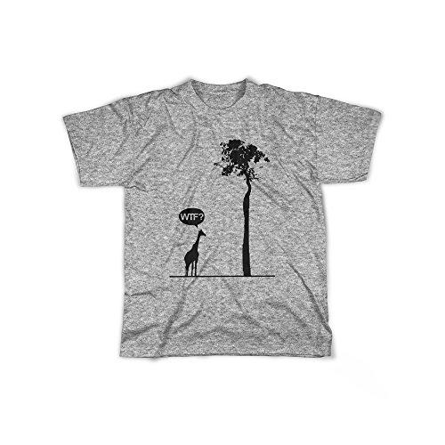 Männer T-Shirt mit Aufdruck in Grau Gr. M WTF Giraffe Baum Savanne Design Boy Top Jungs Shirt Herren Basic 100% Baumwolle kurzarm (Dschungel-print-outfit)