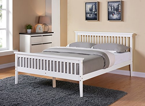 Unmatchable Solid Wood Shaker Bed Frame Double King Size White or Caramel (White, King Size)