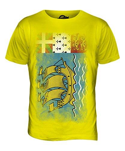 CandyMix SaintPierre Und Miquelon Verblichen Flagge Herren T Shirt  Zitronengelb