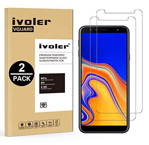 iVoler [2 Stücke] Panzerglas Schutzfolie für Samsung Galaxy J4 Plus 2018 / J6 Plus 2018 / A7 2018, 9H Härte, Anti- Kratzer, Bläschenfrei, [2.5D R&e Kante]