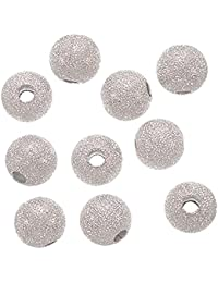 TOOGOO(R) 20PCS Stardust Sparkle Round Beads 10mm Silver Plated
