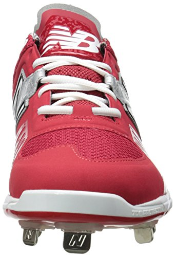 New Balance Men's L3000V2 Metal Low Baseball Shoe,Red/Silver,10 2E US Red/silver