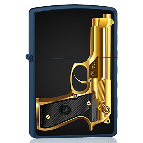 BJJ VALART Blaues Feuerzeug, Benzinfeuerzeug mit Design: Goldene Beretta, Pistole
