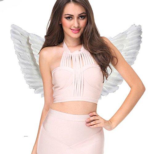 Engelsflügel Engel Flügel aus Federn Engel Fee Flügel Kostüm Damen für Weinachten Halloween Party Karneval Dekoration Cosplay (Erwachsene 55 * 40cm, Weiß) (Weiße Engels Flügel Kostüme)