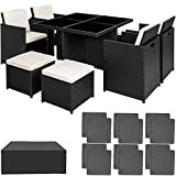 TecTake Conjunto muebles de jardín en aluminio y ratán sintético comedor juego 4+4+1 + funda completa + set de fundas intercambiables | tornillos de acero inoxidable - disponible en diferentes colores - (negro | no. 401986)