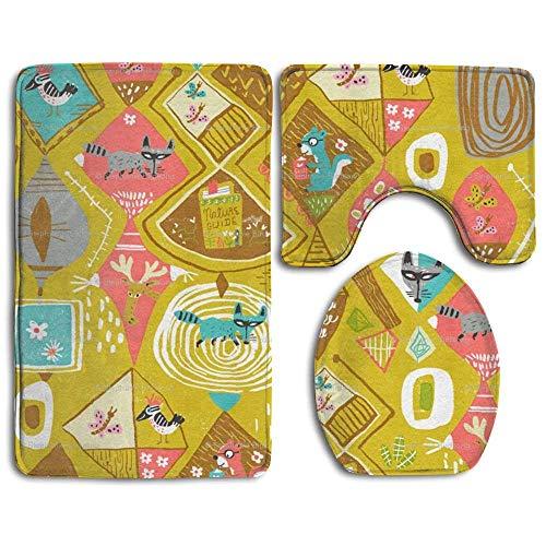 RedBeans Woodlanders Mustard Tapeten WC Decken Set 3-teilig Badteppiche Set Badteppiche Konturmatte WC-Abdeckung