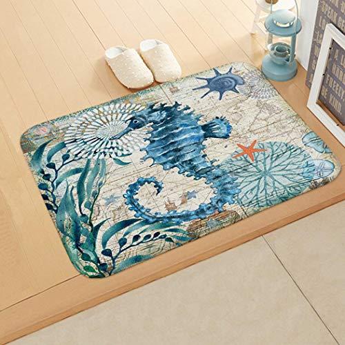 Zuionk zerbino per camera da letto bagno home assorbente antiscivolo tappeti, seepferdchen