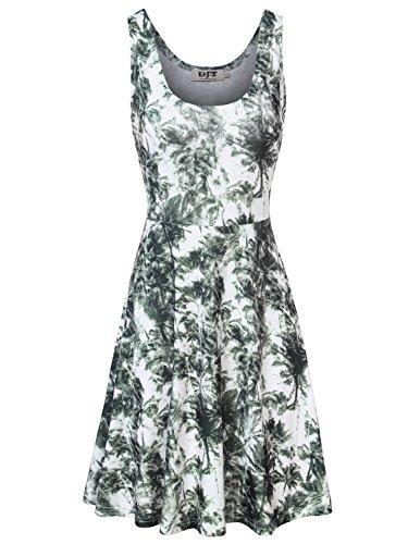DJT Femme Robe en Fleur Style Vintage Coupe Simple Mini Sans Manche Blanc-Gris